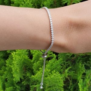 NEW Bracelet Adjustable Sliding Silver Lab Diamond